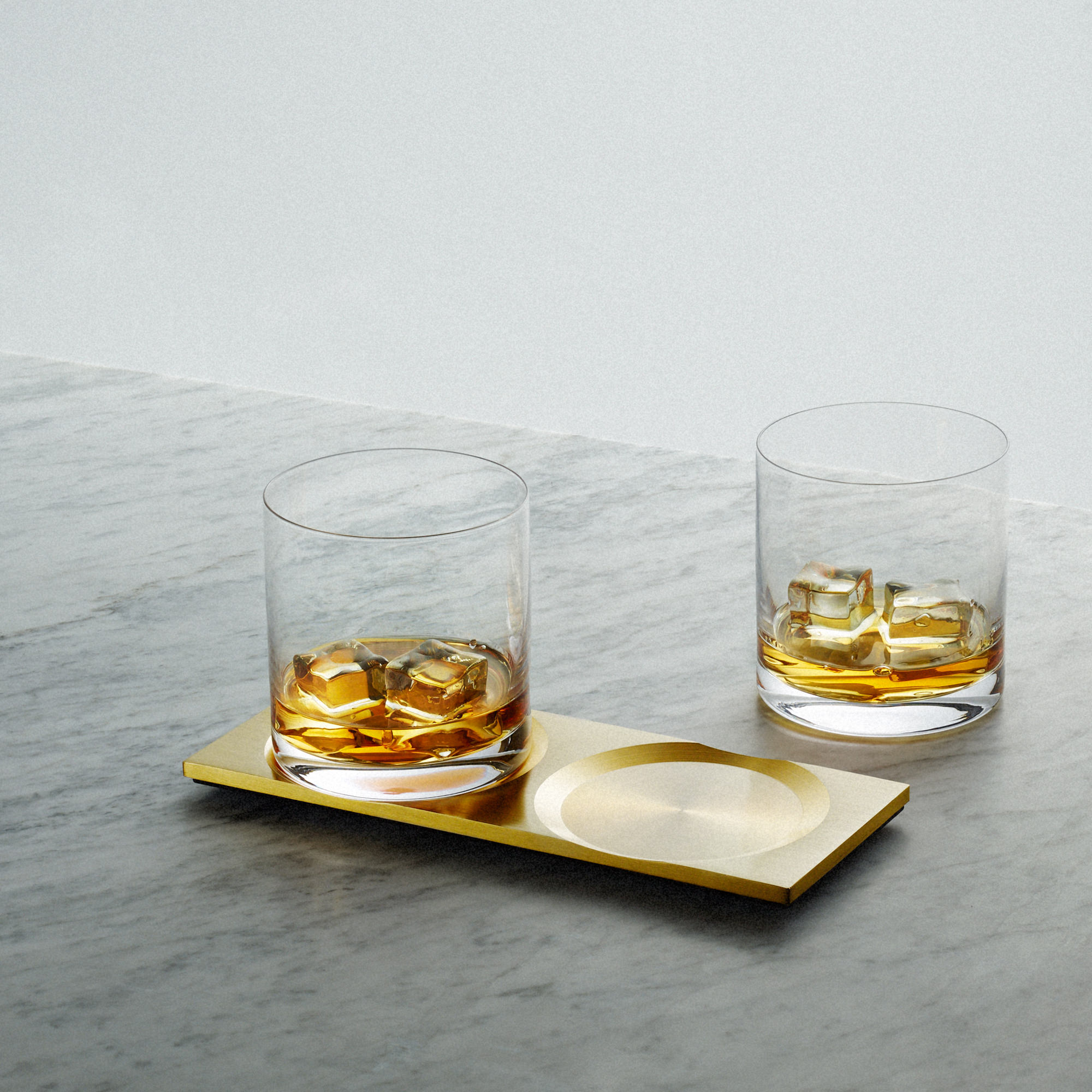 Machined Brass Plate and Crystal Whisky Glasses